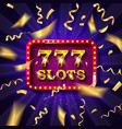 golden slot machine with flying golden confetti vector image vector image