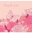 greeting card with peony and butterfly vector image vector image