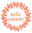 Hello summer wreath card isolated on white vector image vector image