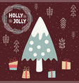 holly jolly card with a cute christmas tree vector image vector image