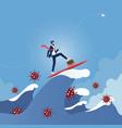 leader surfing on wave overcome corona virus vector image