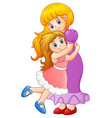 little girl hugging her mother vector image