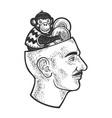 monkey play cymbals head line art sketch vector image vector image