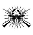 monochrome skull with police headdress sunglasses vector image vector image