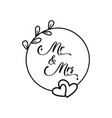 mr and mrs lettering words traditional wedding vector image vector image