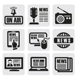 newspaper media icons vector image vector image