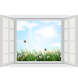 open window with flowers and butterfly vector image vector image