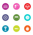 racing work icons set flat style vector image