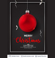 red christmas ball and text on dark background vector image vector image