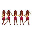 rich black girl at shopping character set with vector image vector image