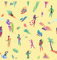 seamless pattern isometric tiny people at the vector image