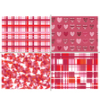 seamless patterns of hearts for valentine day vector image vector image