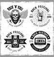 set four rock music emblems or labels vector image vector image