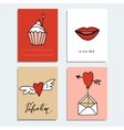 Set of cute hand drawn Valentines day cards Love vector image
