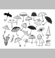 set of doodle sketch umbrellas on white background vector image vector image