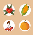 set of thanksgiving food vector image vector image