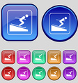 Skier icon sign A set of twelve vintage buttons vector image