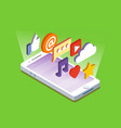 smartphone with apps vector image vector image