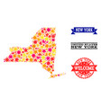 star mosaic map of new york state and rubber vector image vector image