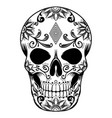 sugar and flower skull a day dead vector image