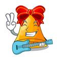 with guitar cartoon christmas bells for christmas vector image
