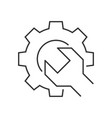 wrench gear outline icon vector image vector image
