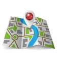 City map with red pointer vector image