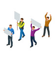 protest isometric people with placard and vector image