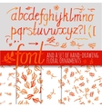 orange color calligraphic font vector image