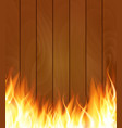 burning fire special light effect flames on wood vector image