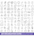 100 organization icons set outline style vector image