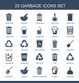 25 garbage icons vector image vector image