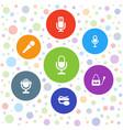 7 karaoke icons vector image vector image