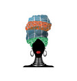 african scarf afro woman in a striped turban vector image vector image