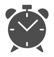 alarm clock solid icon wake up time vector image