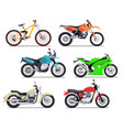 bike and motorbike flat set vector image vector image