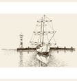 boat in harbor artistic hand drawing vector image vector image