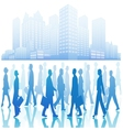 Business people in silhouette walking in different vector image vector image