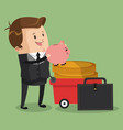 businessman with piggy vector image vector image