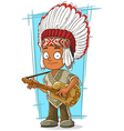 Cartoon Indian chief with guitar vector image vector image