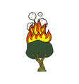 comic cartoon tree on fire vector image vector image