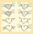contoured valentine hearts with wings of insects vector image vector image