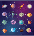cute cartoon collection fantasy planets vector image vector image