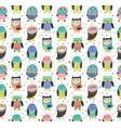 cute cartoon decorative owls seamless pattern vector image vector image