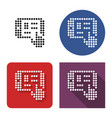 dotted icon tablet touch screen in four vector image vector image