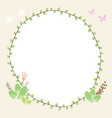 draw circle plant border with butterfly and floral vector image