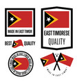 east timor quality label set for goods vector image