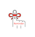 finger reminder thin line icon vector image vector image