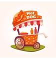 flat of Hot Dog cart vector image