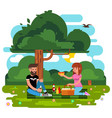 flat style happy family park vector image vector image